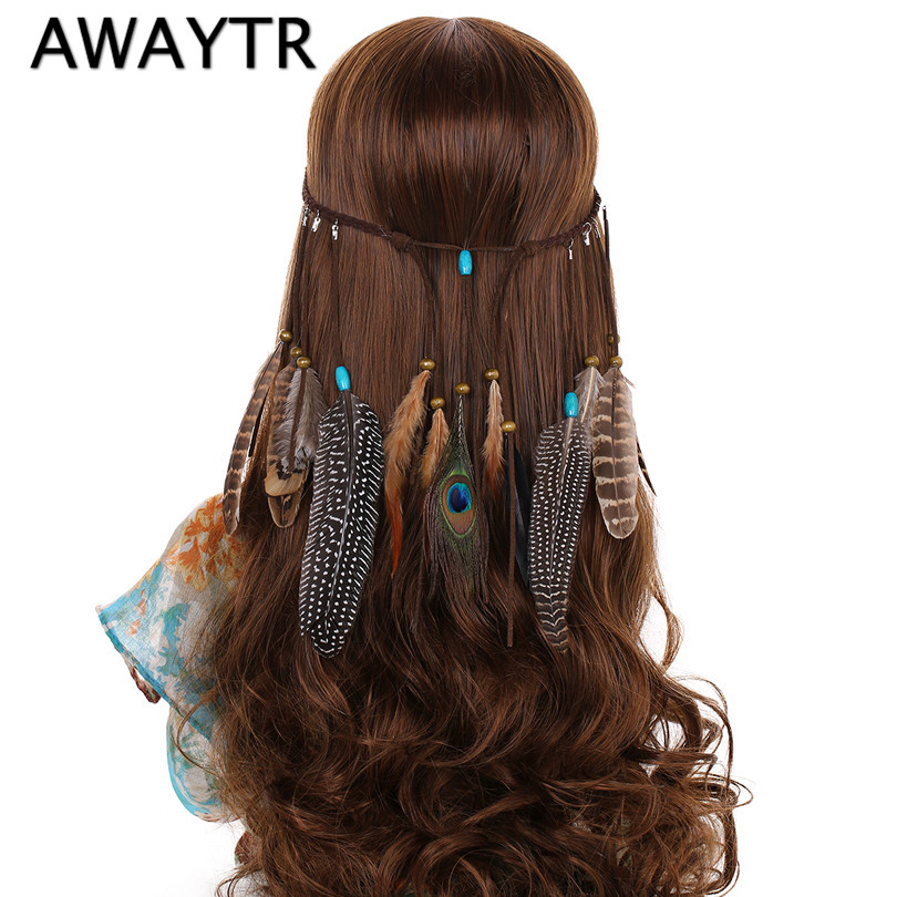 AWAYTR Boho Peacock Feather Headband For Women Hair Rope Hippie Headdress Hair Bands New Adjustable Halloween Feather Hairband
