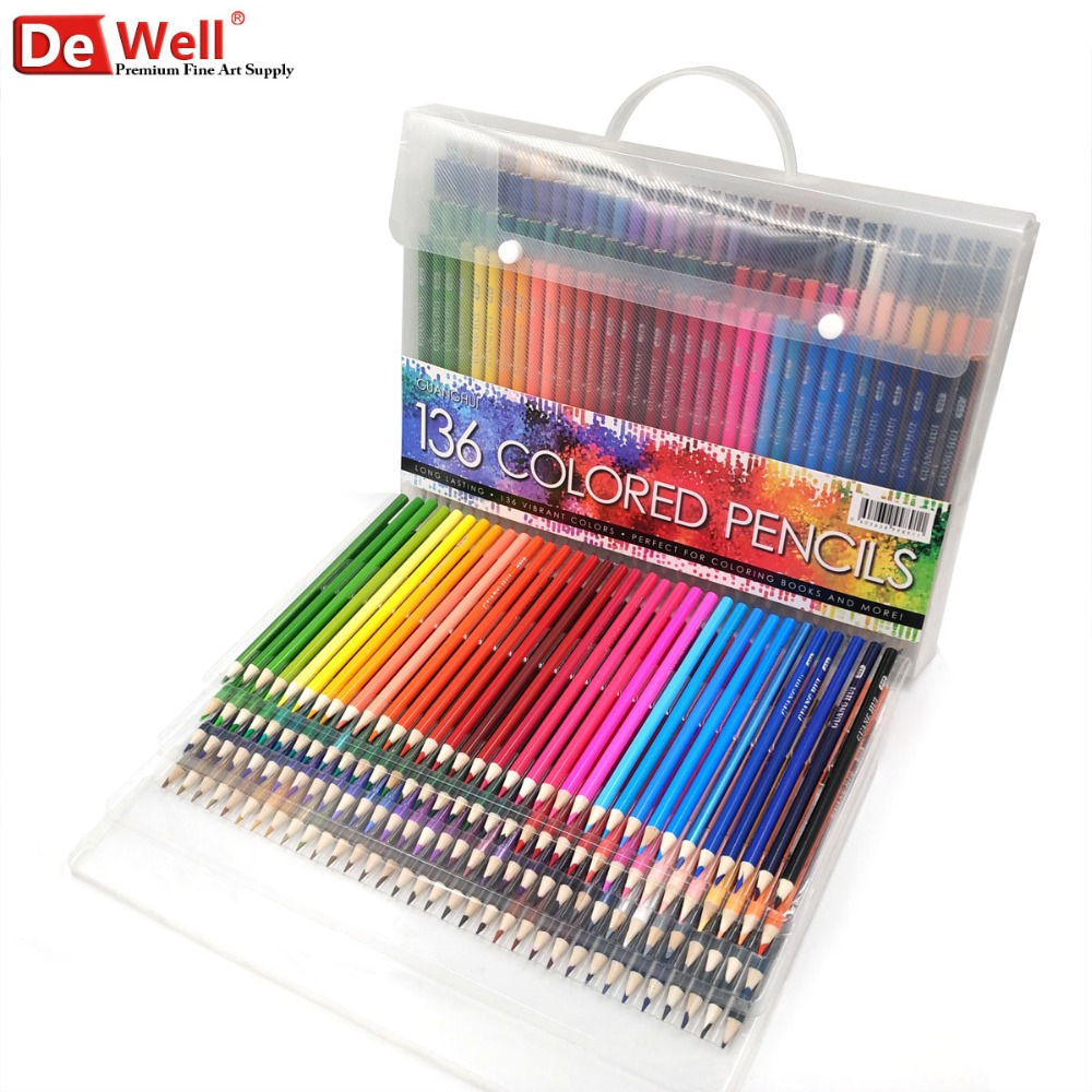 136 Colors Wood Colored Pencils Set Lapis De Cor Artist Painting Oil Color Pencil 120 for School Fine Art Drawing Sketch Gift deli colored pencil nature wood drawing pencils art accessories 18 colors lapis de cor professional pencils cute stationery
