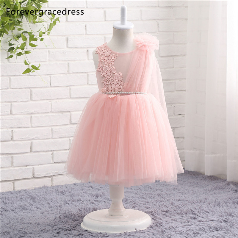 Forevergracedress Real Pictures Pink   Flower     Girl     Dress   Cute Crew Neck Applique Lace Tulle Kids Pageant Children Gown