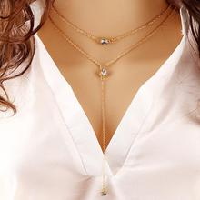 Summer Style Fashion Jewelry Double Link Chain Necklace Alloy Gold Color Crystal Pendant Necklaces Body Chain For Women