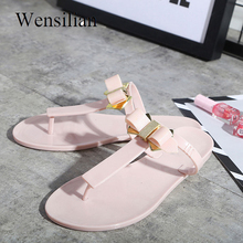 f2bbe5623495 Women Flip Flops Slippers Butterfly Knot Summer Ladies Slides bow Sandals  jelly Shoes Fringe Casual Shoes