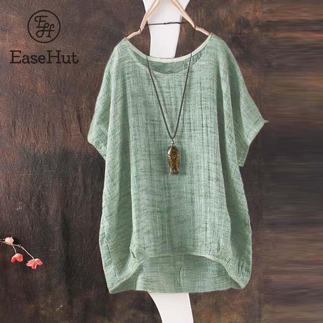 30078633c7d EaseHut Plus Size S-5XL Batwing Sleeve Loose Blouse Cotton Linen Casual O  Neck Womens