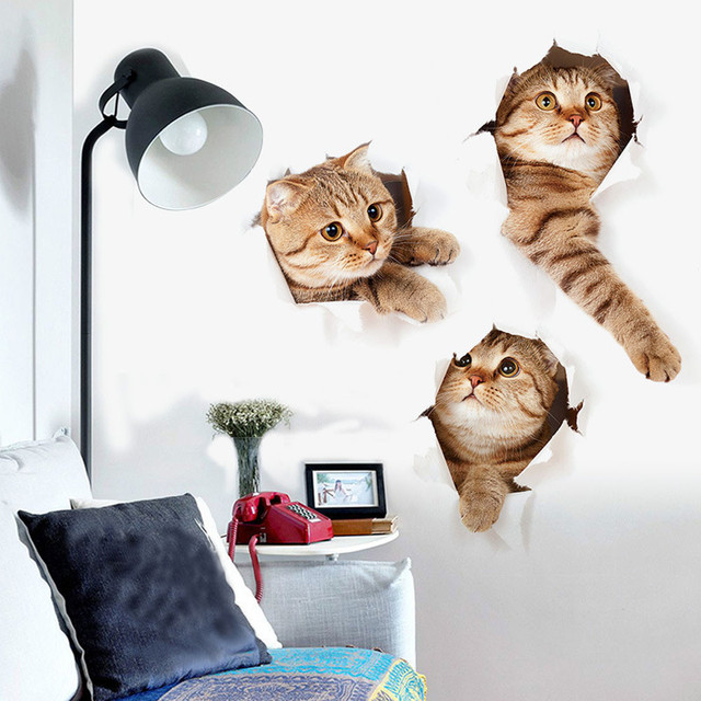 3d katze mode kreative pers nlichkeit wohnzimmer for 3d tapete ka che