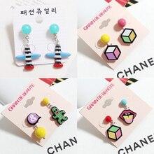 South Korea South Korea imported jewelry box all-match watermelon ball stud earrings small ball stud earrings small plane stripe