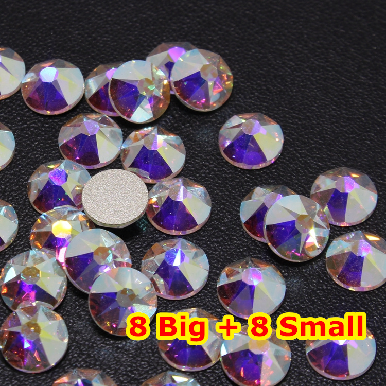 1440pcs/Lot, AAA Quality New Facted (8 big + 8 small) ss16 (3.8-4.0mm) Crystal AB Nail Art Glue On Non Hotfix Rhinestones 1440pcs lot ss16 3 8 4 0mm high quality dmc tanzanite iron on rhinestones hot fix rhinestones
