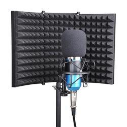 Painel de espuma de absorção de som de gravação de escudo de isolamento de microfone de estúdio dobrável
