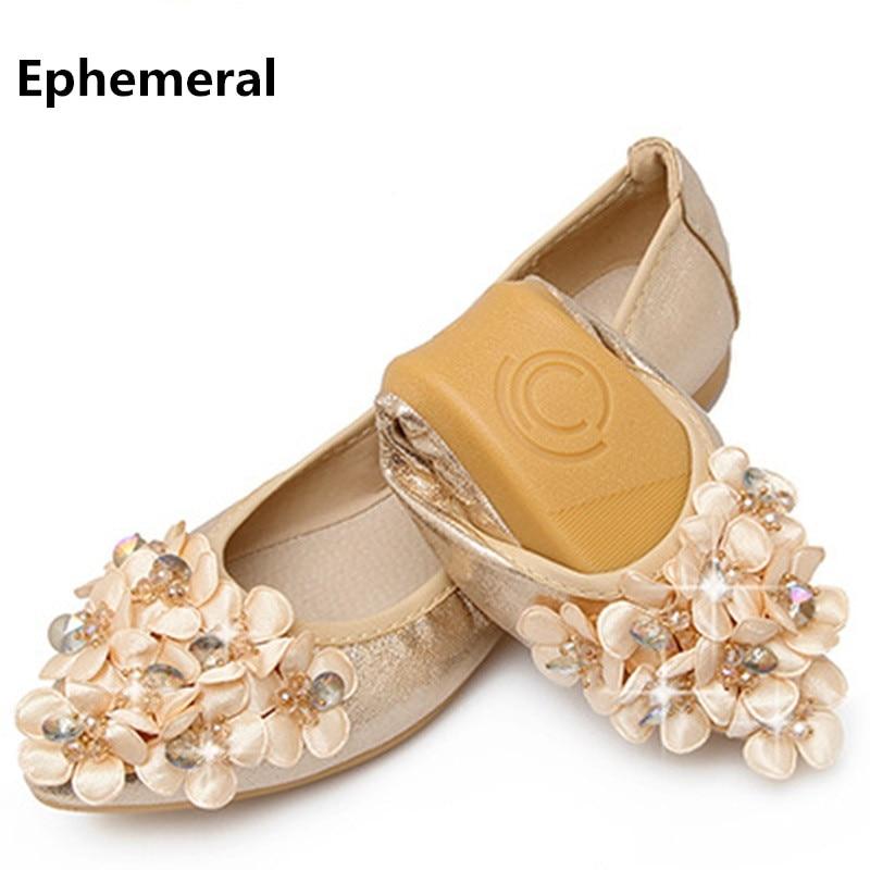 Zapatillas de bailarina con suela suave y suave para mujer zapatos con punta de punta de cristal de lujo flores casuales resbalón para las mujeres mocasines tamaño oro 45