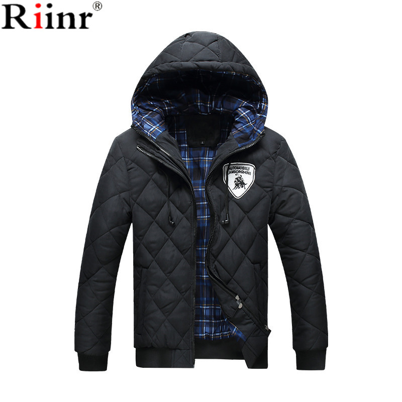 Riinr 2017 New Brand Winter Jacket For Men Hooded Coats Casual Mens Thick Coat Male Slim Casual Cotton Padded Down Outerwear