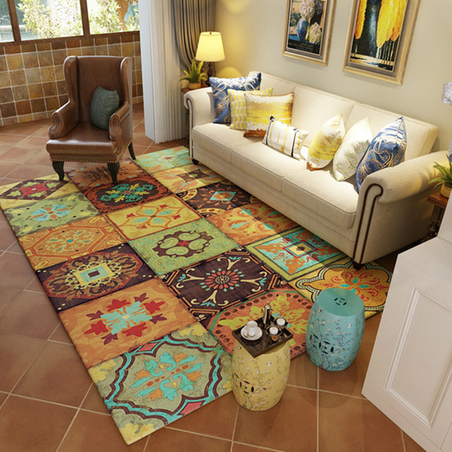 retro classic american style country multi color patchwork design print floor mat parlor living room