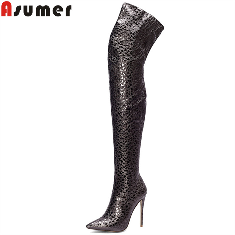 ASUMER plus size fashion over the knee boots pointed toe zip autumn winter prom boots super high thin heels thight high boots hand blender haier hhb 111 electric blender mixer grinder for kitchen handheld stainless steel 12 speed