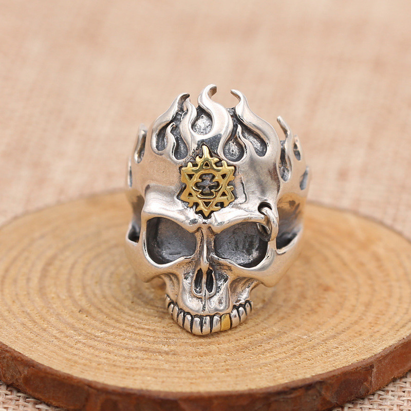 Fire Skull Solid Silver 925 Wide Mens Ring 100% Sterling Silver 925 Men Jewelry Cool Gothic Skull Ring Antique Thai Silver Gifts mens solid 925 sterling silver 8mm rope ring