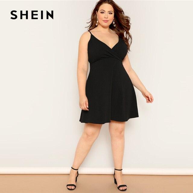 SHEIN Plus Size Black Surplice Neck Solid Cami Fit And Flare Midi Dress Women 2019 Summer Spaghetti Strap High Waist Dress 3