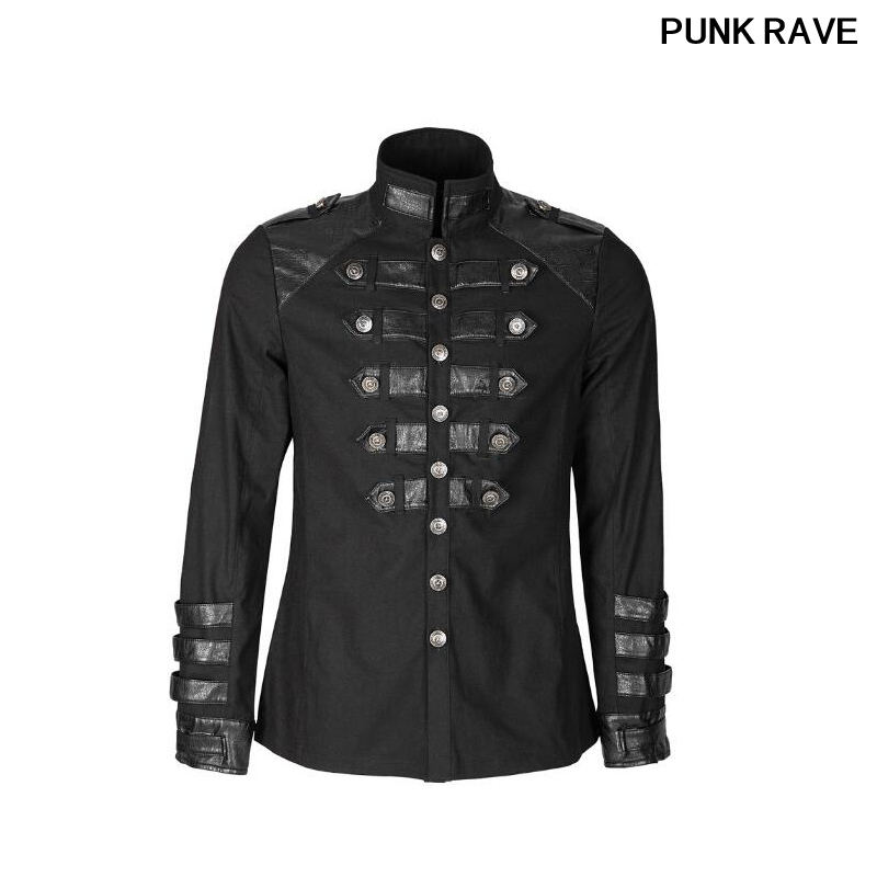 Steampunk allemagne soldirement Standup col hommes chemises délicates Ilnverted Triangle boucle militaire uniforme chemise PUNK RAVE Y-753