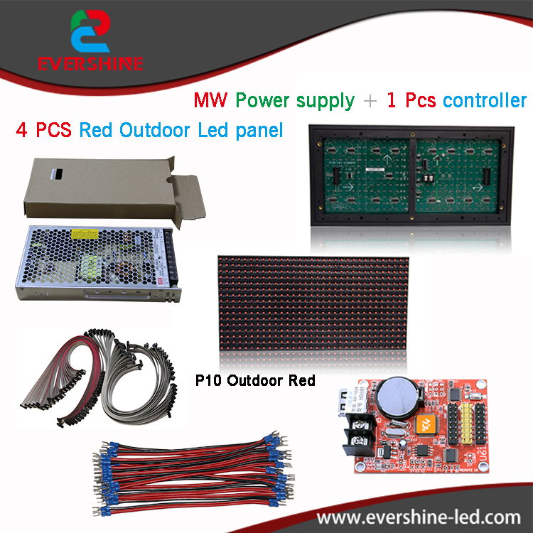 Outdoor Single Red  P10 LED Module 4 Pcs+ 1 pcs controller+1pcs MW power supply,P10 LED Display sign DIY kits diy kits p10 advertising led display board 4 pcs p10 red led modules1 pcs jn power supply 1 pcs contrller all cable