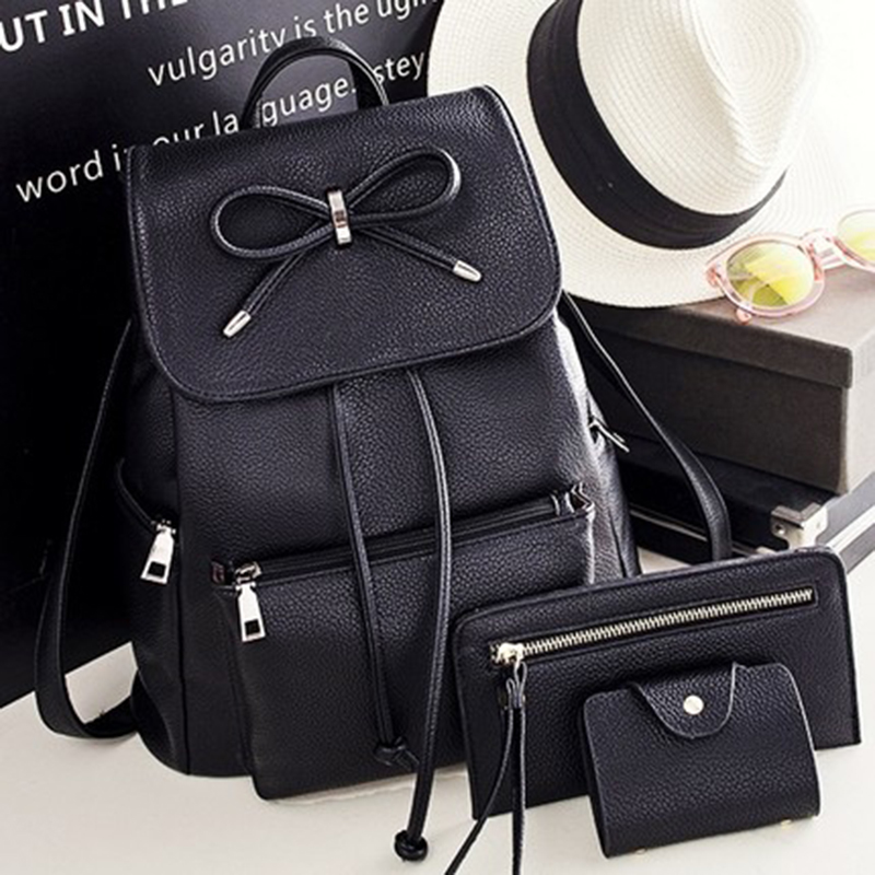 Women Backpack  Leather Bags School Backpacks Female Girls College Preppy Bag Bowkont Waterproof Backbag Lady Black Mochilas