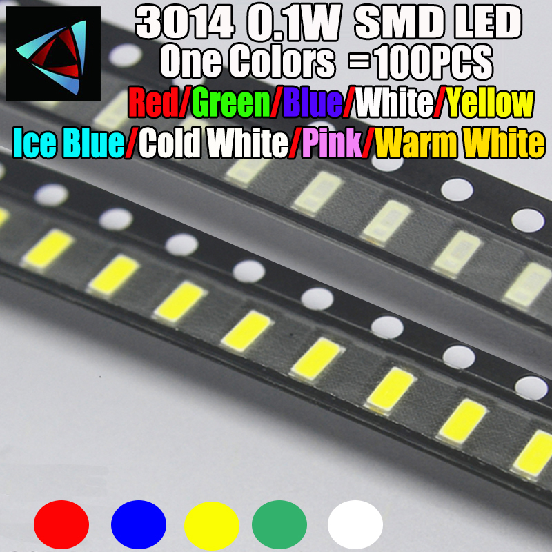 100pcs New 3014 0.1W 3.0 * 1.4 MM 2.0-3.2V Red/Green/Blue/White/Yellow Ice Blue Pink Warm White SMD LED Kit