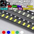 100 шт., новинка, 3014, 0,1 Вт, 3,0*1,4 мм, 2,0-3,2 в, красный/зеленый/синий/белый/желтый цвет, яркий белый SMD светодиодный комплект
