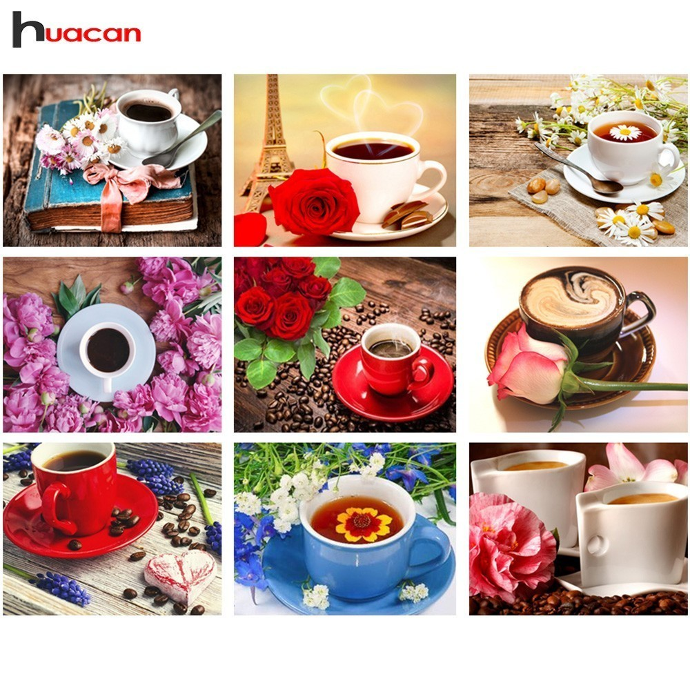 Huacan Diamond Embroidery Flowers Picture Rhinestones Diamond Mosaic Flower Full Square Cross Stitch Kits Coffee Cup Home DecorHuacan Diamond Embroidery Flowers Picture Rhinestones Diamond Mosaic Flower Full Square Cross Stitch Kits Coffee Cup Home Decor