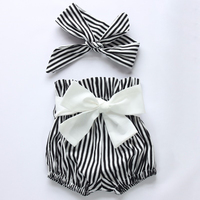 Baby Girl 2017 new arrival fashion sleeveless Romper Tops+Striped Shorts Bottoms+Head Band Outfits Sunsuit