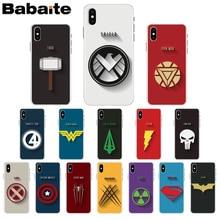 Babaite Marvel DC superhero logo Spider Man Superman Batman Phone Case for iPhone X XS MAX 6 6S 7 7plus 8 8Plus 5 5S XR