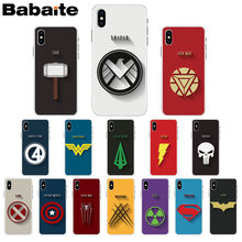 Babaite Marvel DC superhero logo Spider Man Superman Batman Phone Case for iPhone X XS MAX 6 6S 7 7plus 8 8Plus 5 5S XR(China)