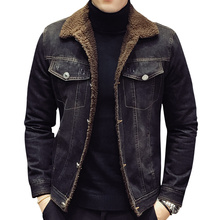 Men Fashion Denim Jackets Autumn and Winter Black Denim Jack