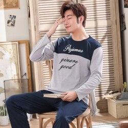 2019 весенние хлопковые Пижамные комплекты для мужчин с длинным рукавом, мягкая удобная одежда для сна, Мужская одежда для отдыха, пижама, дом...