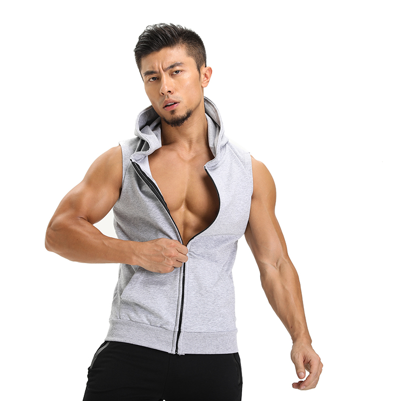 2017 Men's Hooded   Tank     Tops   Men Fitness Bodybuilding jackets Muscle sleeveless Stringer Vest Shirts male zipper Gyms Clothing