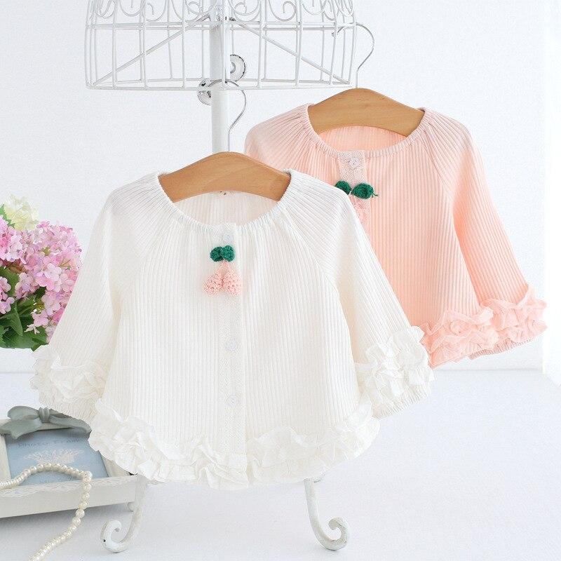 Baby Kinderkleding 2018 Lente Kids Kleding Lange Mouw Kant Meisjes Blouses Baby Shirt 0-2 T Roze Wit