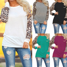 Fashion Casual Long Sleeve Chiffon Leopard Blouse Women