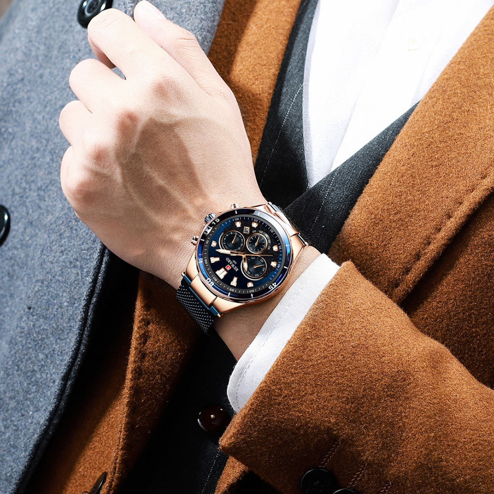 2019 Men 39 s Business Wrist Watch New Luxury Brand REWARD Male Full Steel Mesh Belt 24 Hour Date Clock Quartz Watches Waterproof in Quartz Watches from Watches
