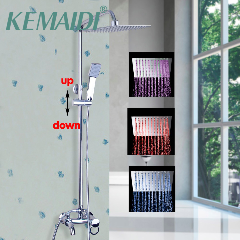 KEMAIDI Shower SetContemporary LED Color Changing Shower Head Wall Mounted Single Handle LED Bathroom Faucet Bathtub Mixer Tap new chrome finish wall mounted bathroom shower faucet dual handle bathtub mixer tap with ceramic handheld shower head wtf931