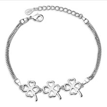 LUKENI 2018 Hot Sale Clover Female Bracelets Accessories New Fashion Women Silver 925 Anklets Jewelry Trendy Bijou