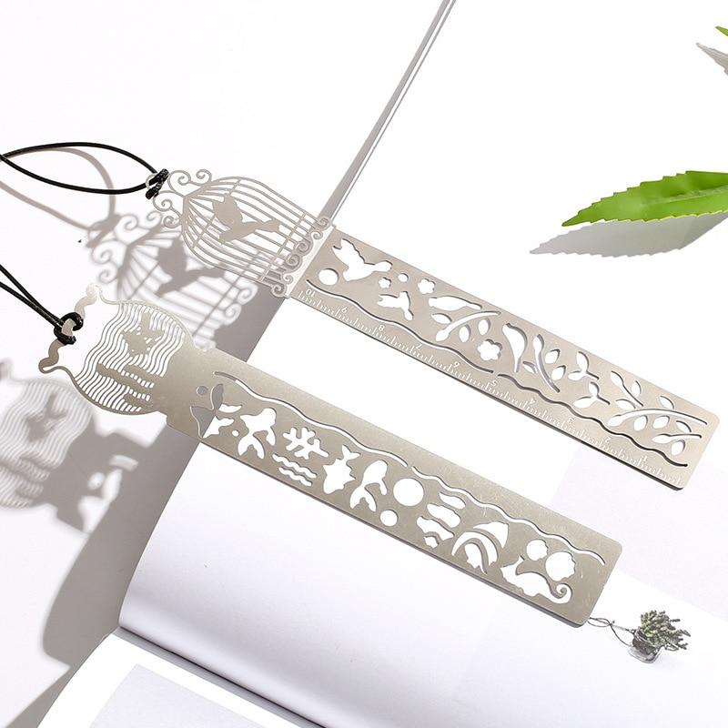 Metal Hollow Bookmark Straight Ruler Drawing Template Tool School Office Supply Art Kids Rewarding Gift