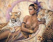 Neue Diamant mosaik voll quadratmeter diamant-stickerei perlen leopard Indische schönheit tier diamant malerei kreuzstich kits
