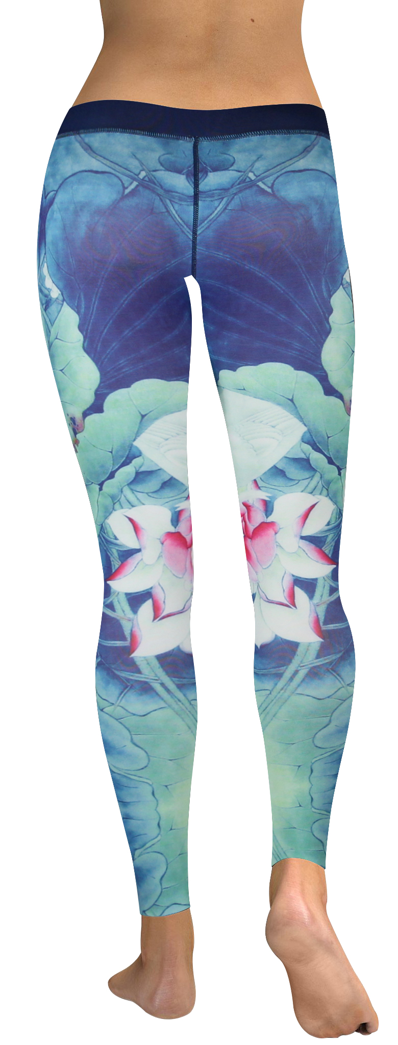 High waistband Blue lotus leave legging (2)