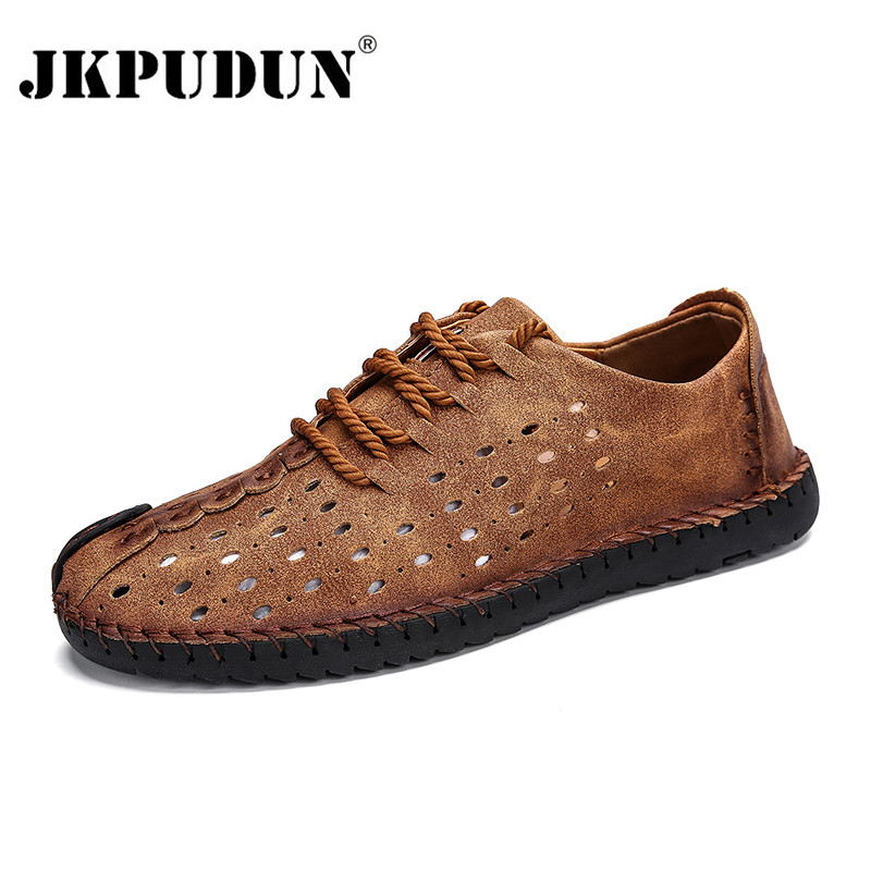 JKPUDUN Summer Men Genuine Leather Loafer Shoes Italian Luxury Mens Moccasins Breathable Casual Male Driving Shoes Men Plus Szie