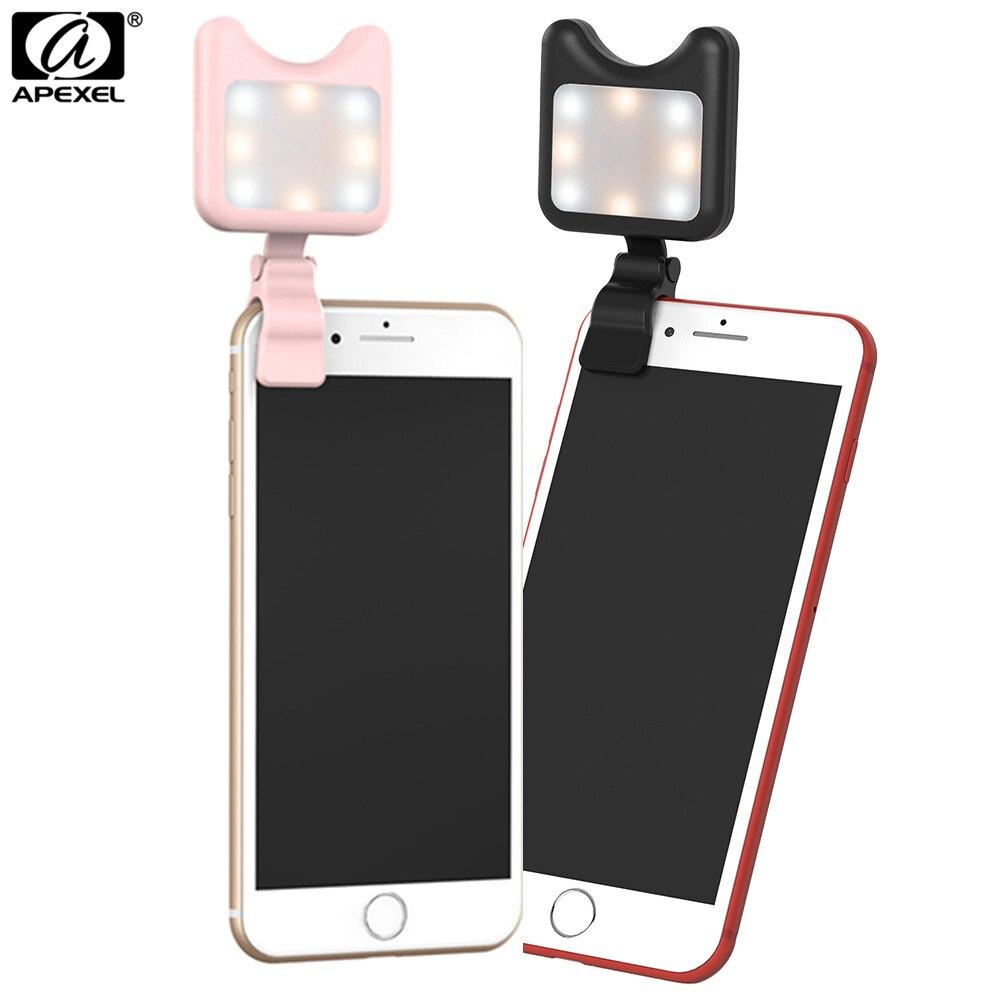 Apexel Universel LED Selfie Flash Lumière Clip-sur Portable Rechargeable 9 Niveaux Flash Led Lumière pour iPhone Samsung Huawei tablet