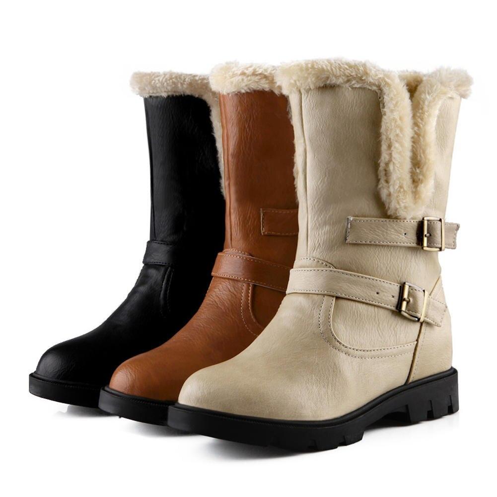 34 Casual Mi Taille noir marron Femme Neige 2019 mollet Nouvelle Chaussures Bottes Hiver Faible 43 Bonjomarisa Apricot Talons Solide Grand Ceinture Boucle erxWdCBo