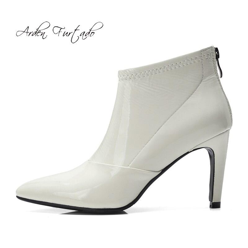 Tacones Tacón Tobillo Blanco De Negro Otoño 8 Cm Nuevas Sexy Zapatos Pie beige Cremallera White q4IX0ww