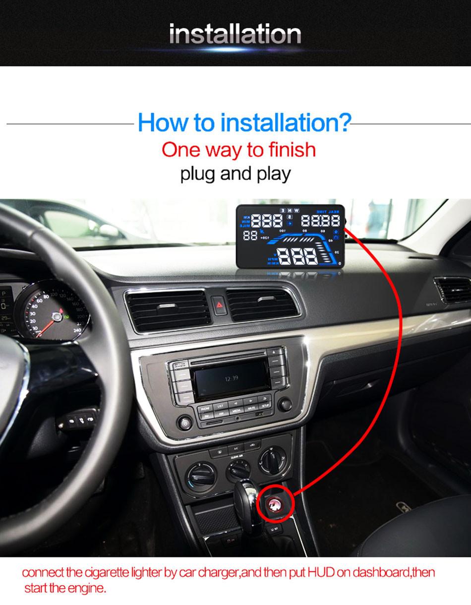 Universal Q7 5.5 Auto Car HUD GPS Head Up Display OBD II 2 Overspeed Warning Alarm Dashboard Windshield Project Speedometers-15