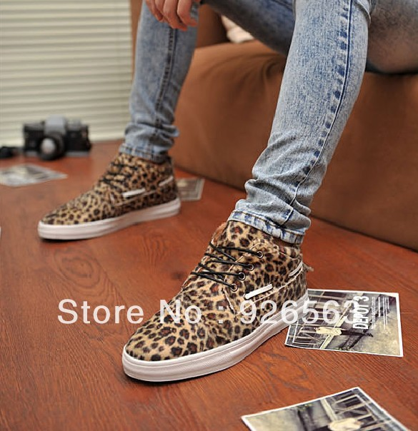 f7b02b5d86e2 Fall winter fashion mens leopard print shoes winter british style fashion  sneakers