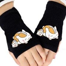 2016 Anime Natsumes Book Of Friends Cartoon Glove Warm Winter Half Finger Cotton  Solid Gloves Mitten Unisex Cosplay Gift