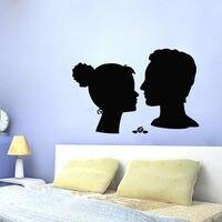 Wall Decal Vinyl Sticker Woman Man Heads Silhouette Kissing Art Love Decor