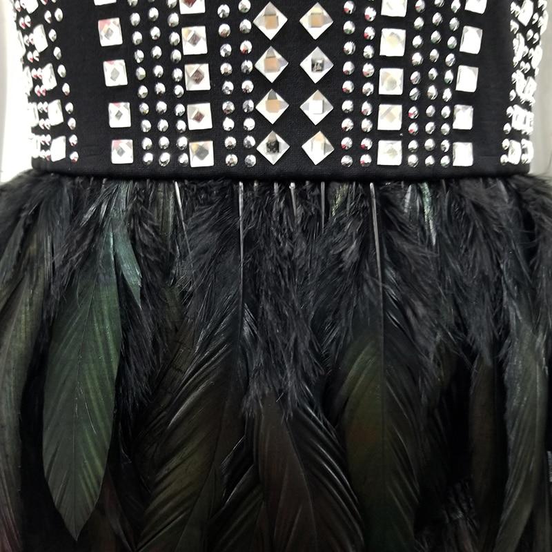 Élégant Mini D'été Sexy Robe Celebrity Noir Moulante Bretelles Nuit Fête Cockail Mode Robes Club Perles Tenue Plumes De FpRwnA