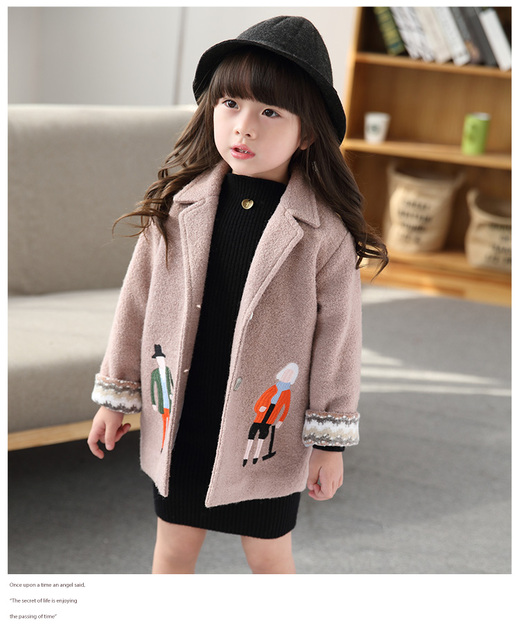 winter jackets for girls/ 2016 new winter coat children's clothing / baby girl woolen coat / winter woolen coat child campus