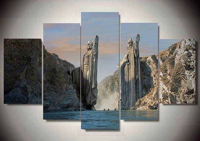 Framed 5 Piece Canvas Art: Pillars of Kings