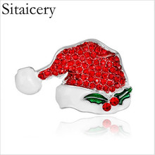 Sitaicery Red Christmas Hat Brooch Cute Rhinestone Brooch Pin Coat Badge Women Accessories Stainless Steel Jewelry Wholesale rhinestones christmas hat brooch
