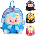 Cotton Boys Girls Babies Kindergarten School Outdoor Bag Toddler Children Animal Backpack Detachable Cartoon Monkey Rabbit Doll
