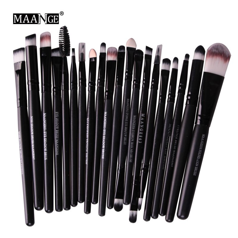 2016 Pro 20Pcs Makeup Brushes Set Powder Blush Foundation Eyeshadow Eyeliner Lip Black Cosmetic Brush Kit Beauty Tools Maquiagem new 32 pcs makeup brush set powder foundation eyeshadow eyeliner lip cosmetic brushes kit beauty tools fm88